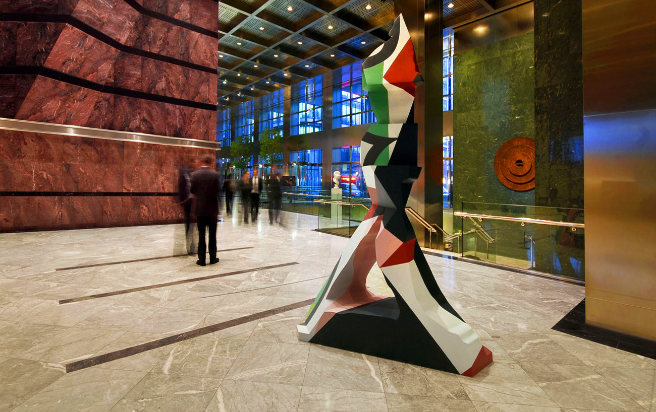 The Broken Man in Cornforth, Hague Blue, Arsenic, Lush Pink, Incarnadine and Downpipe. 2010-13. Marble resin composite, paint. 300 x 176 x 64.4 cm. Installed at One Canada Square, Canary Wharf. London. Photo: Nick Hornby